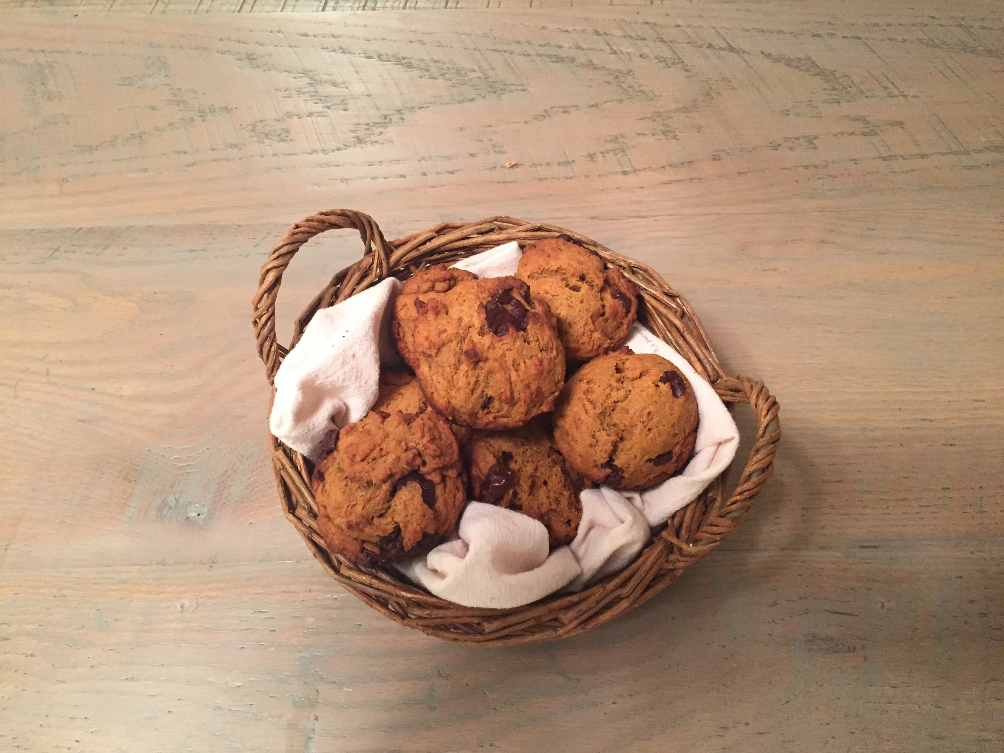 Vegan Pumpkin Chocolate Chunk Muffins